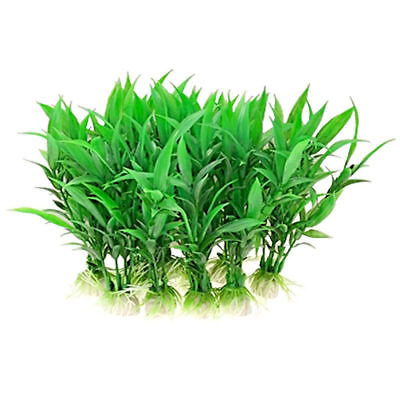 5/10/20pcs Artificial Aquatic Plant Plastic Grass Fish Tank Aquarium Decor-Green • 7.99£