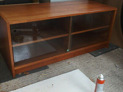 Wooden TV / Hifi Cabinet With Glass Sliding Doors • 15£