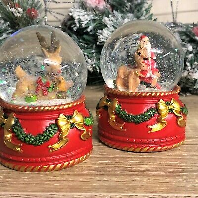 Festive Decorated Christmas Snow Globe - Santa & Sleigh Or Reindeer & Robin • 10.95£