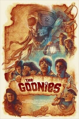 Goonies Ltd Edition Of #25 Mondo Artist Parchment Gold Variant Poster - Chapman • 159.99£