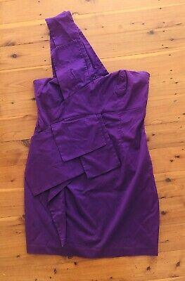 AU17 • Buy ASOS - Purple One Shoulder Lined Linen Look Dress Size 14 BNWOT