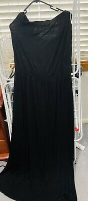 AU14.50 • Buy Asos Curve Black Jersey Maxi Dress With Elastic Waist - Plus Size US 14