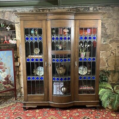 AU125.50 • Buy  LARGE~Antique Leadlight & Glass Display Cabinet~Large~Office Bookcase~ART DECO