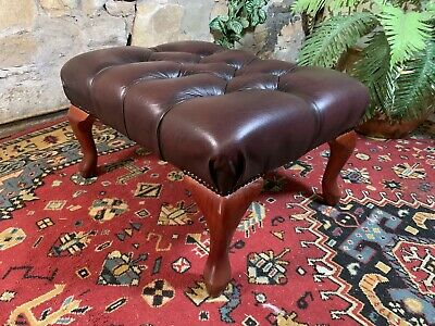 AU61 • Buy Vintage Chesterfield Leather Lounge Chair Footstool~Ottoman Sofa Stool