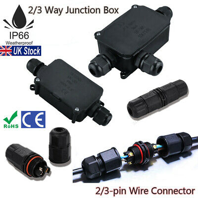 Waterproof Junction Box Electrical Cable Connector Outdoor IP66 Underground UK • 5.69£