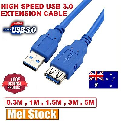 AU12.79 • Buy USB 3.0 Male Plug To Female Socket Extension Cable Cord Lead For Laptop,PC,Hub