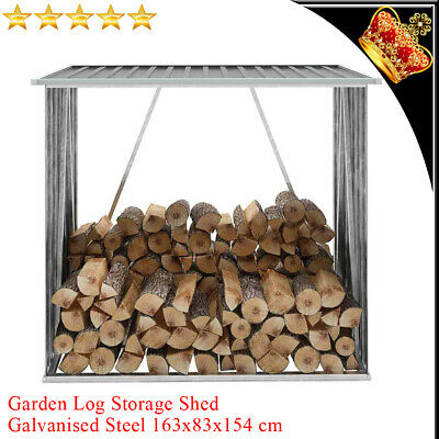 Garden Fire Log Storage Shed Galvanised Steel 163x83x154cm Grey Timber Cabin New • 128.59£