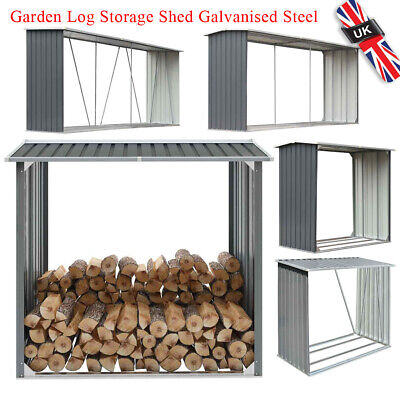 Garden Fire Log Storage Shed Galvanised Steel Grey Outdoor Firewood Timber Cabin • 128.59£