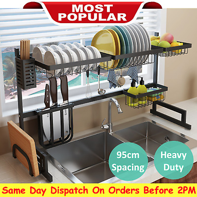 AU79 • Buy 95CM Stainless Steel Dish Drying Rack Organizer Over Sink Kitchen Draining 2Tier
