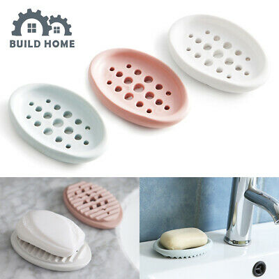 Drain Soap Holder Box Bathroom Case Traveling Hollow Wash Soap Dish Gadgets Home • 2.49£
