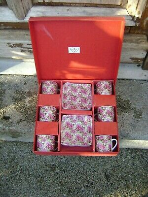 Set Of 6 Coffee Cups And Saucers Shabby Chic Retro French Boxed • 12£
