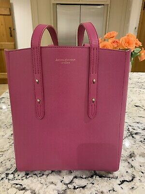 Aspinal Of London Essential Tote Bag In Fuchsia Saffiano Leather Rrp £350 • 140£