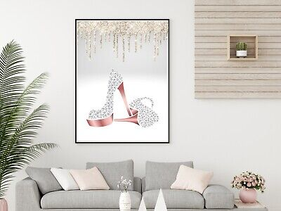 Glitter PRINT Bedroom Glam Diamante Shoes Rose Gold Silver Wall Art No Frame • 5.75£
