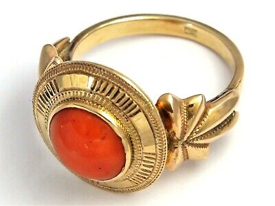 14ct 14k 585 Gold Coral Ring Amazing Style • 650£