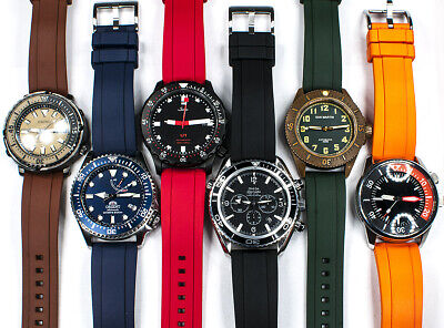 $24.88 • Buy Real Rubber Quick Release Dive Watch Strap - Band FKM Silicone Vulcanized Curved