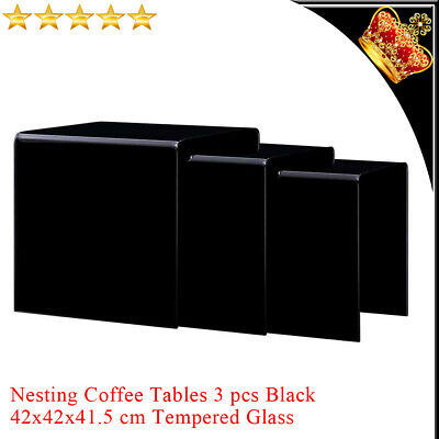 3x Nesting Coffee Tables Black Square Tempered Glass Side Tea Stand Furniture UK • 196.29£