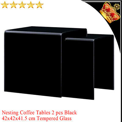 2x Nesting Coffee Tables Black Square Tempered Glass Side Tea Stand Furniture UK • 169.09£