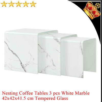 3x Nesting Coffee Tables White Marble Square Tempered Glass Home Side Tea Stand • 271.69£