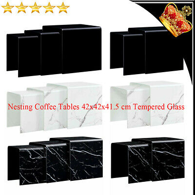 Set Of 2/3 Nesting Coffee Tables Square Tempered Glass Side Tea Stand Nightstand • 189.09£