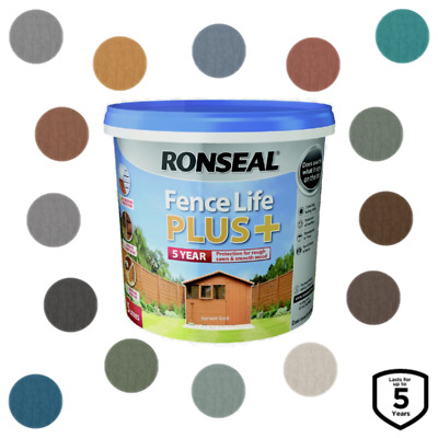 Ronseal Fence Life Plus Garden Shed & Fence Paint 5L UV Potection - 14 Colours! • 15.49£