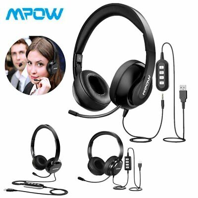 Mpow USB Noise Cancelling Microphone Computer PC Headset Headphones Call Centre • 17.89£