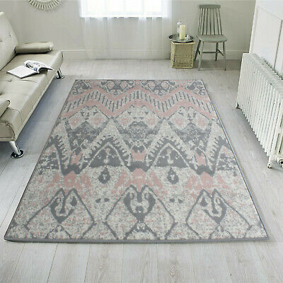 Aztec Blush Pink Rug Small Large Tribal Grey Rugs Living Room Long Hall Runners • 29.95£
