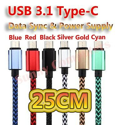 AU6.34 • Buy Short 25cm USB Type-C Adapter Cable Charger For Samsung Galaxy M31S Colourful AU