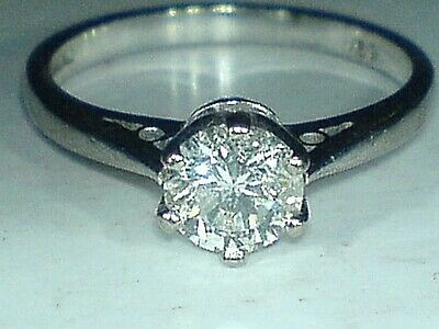 18ct Gold Hallmarked Solitaire 0.50 Carat Real Diamond Engagement  Ring Size J • 895.99£