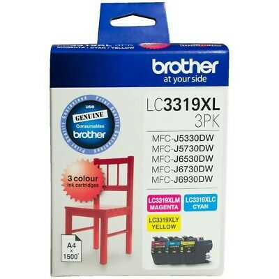 AU122.95 • Buy Brother LC 3319XL Ink Cartridges 3 Colour Value Pack