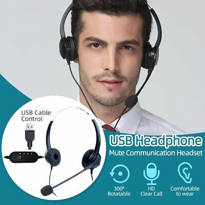 USB Computer Headset Wired Over Ear Headphones For PC Phone Call Center Skype • 15.99£