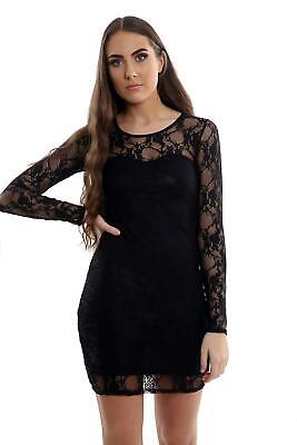 £11.99 • Buy Womens Lace Bodycon Long Sleeve Stretch Mini Dress Ladies Evening Party Dresses