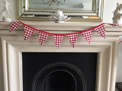 FABRIC BUNTING 220CM ROW 12 CM X 15 CM X 8 LAURA ASHLEY RED GINGHAM WHITE BACK  • 5.99£