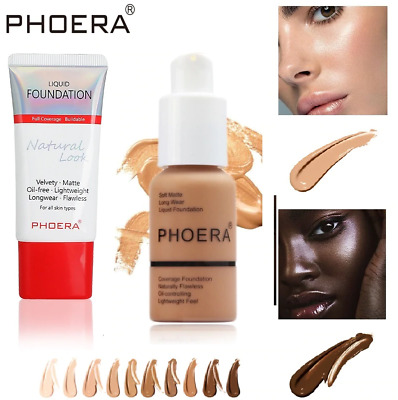 MATTE FLAWLESS SKIN FOUNDATION Phoera Full Coverage Face Makeup Concealer UK • 4.25£