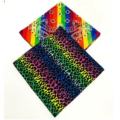 $6.98 • Buy Bandana Leopard Print Rainbow Paisley Covering Cotton Scarf Head Band Hair Wrap