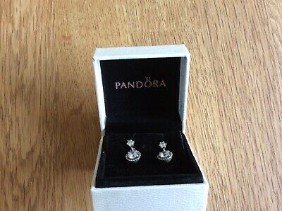 100% Genuine Pandora Classic Elegance Dangle Drop Earrings CZ  Boxed Unworn  • 30£