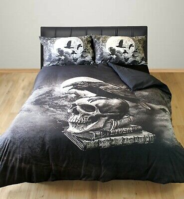 Poe's Raven Duvet Cover Set Alchemy Gothic Crow Birds Skull Moon Grey Black • 14.99£