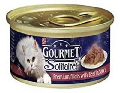 Gourmet Solitaire Cat Food With Beef Tin 85g Pack Of 6 • 15.48£