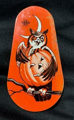 $ CDN38.05 • Buy Vintage ~ Tin Halloween Noisemaker W/ Owl, Moon & Jack-O-Lantern U.S. Metal Toy
