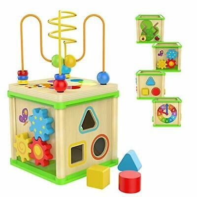 TOP BRIGHT Wooden Activity Cube, Educational Toys For 1 2 Year Old Boy Girl One • 22.99£