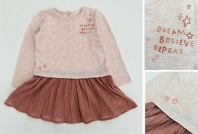 NEXT Girls Baby Dress Cotton Long Sleeve Pink Party Sequin Sparkly Tutu  NEW • 6.99£