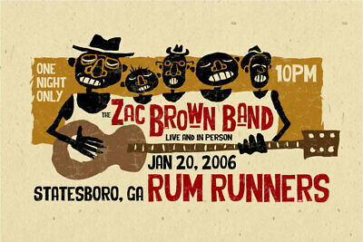 $18 • Buy Zac Brown Country Concert Poster - Georgia 2006