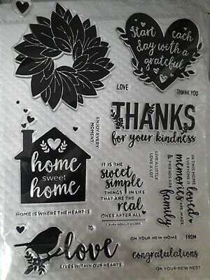 NEW HOME SWEET HOME LARGE SENTIMENT CLEAR STAMP SET 6x8in 19 STAMPS CARDS ALBUM  • 6.50£