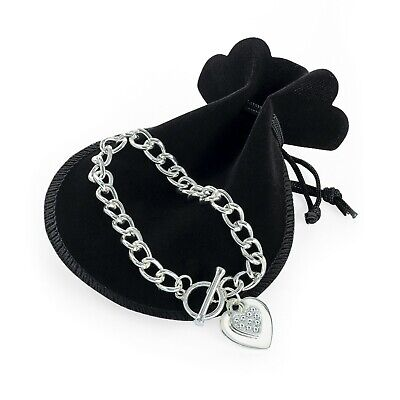 £2.99 • Buy New Silver Colour T Bar Chain Bracelet With Crystal Heart Pendant BL32012