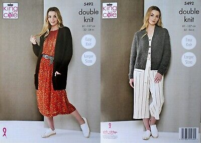 KNITTING PATTERN Ladies Easy Knit Long Jacket & Short Cardigan DK King Cole 5492 • 3.95£