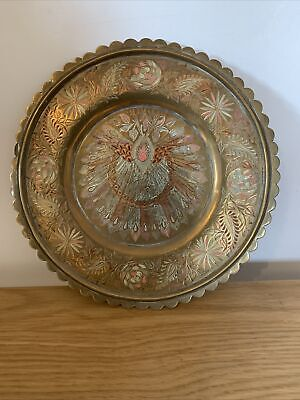 "Antique Indian Engraved Painted Peacock Design Brass Decorative Plate Or Tray 9"" • 30£"
