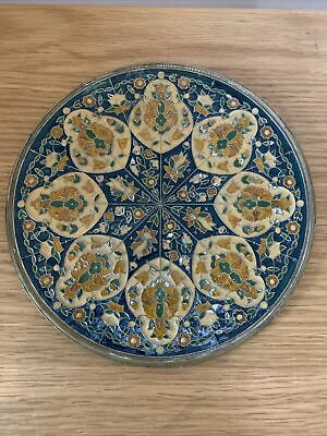 "Antique Indian Engraved Enamel Design Heavy Brass Decorative Plate Or Tray 8"" • 35£"