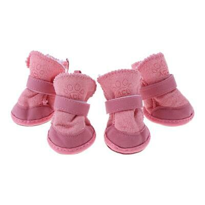 Pet Puppy Thick Snow Boots Dog Plush Warm Shoes Dog Accessories(Pink)(XS) *DC • 4.96£