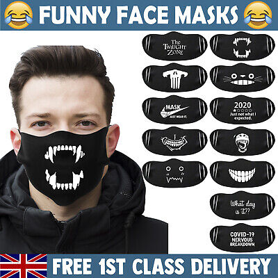 £4.99 • Buy FUNNY FACE MASK Mouth Cover Washable Reusable Halloween Adult Masks UK Stockist