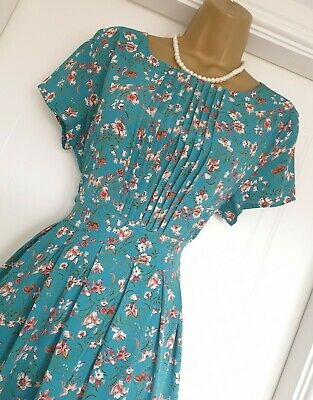 Teal Floral Vintage WW2 40s 50s Repro Party Fit And Flare Tea Dress 16 • 24£