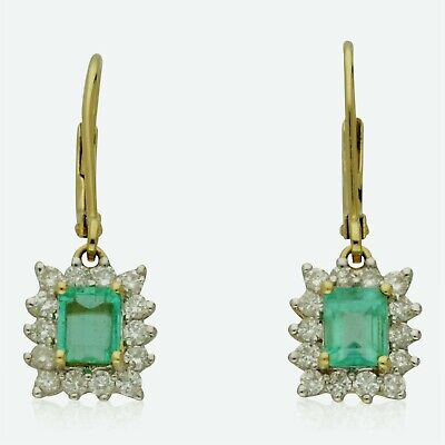 Pre-owned 18ct Yellow Gold  Colombian Emerald & Diamond Drop Earrings • 995£